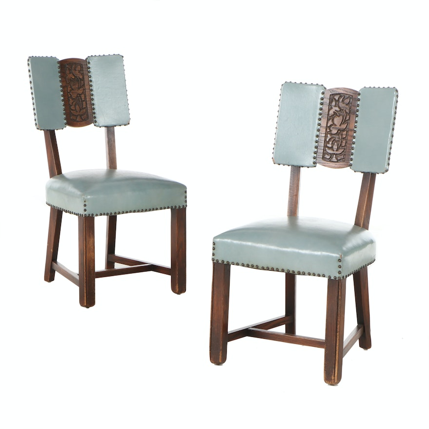 Romweber Carved Oak Vinyl Upholstered Side Chairs, Mid-20th Century