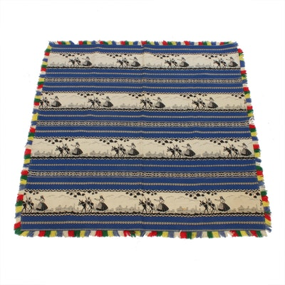 Mexican Jacquard Wool Throw Blanket, Mid-20th Century