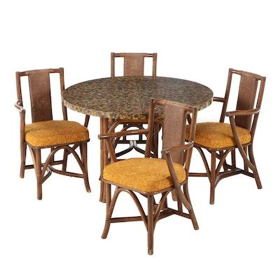 Mid-Century Rattan and Laminate Dining Set