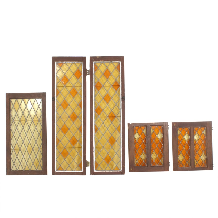 Amber Diamond Leaded Glass Windows, Antique