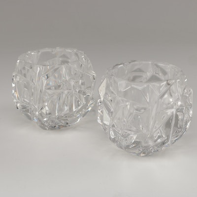 "Tiffany & Co. ""Rock-Cut"" Crystal Votive Candle Holders"