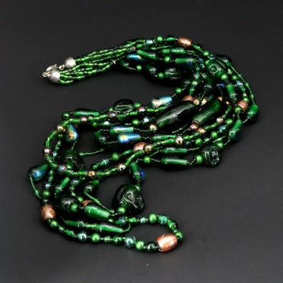 Glass Multi-Strand Beaded Bib Necklace