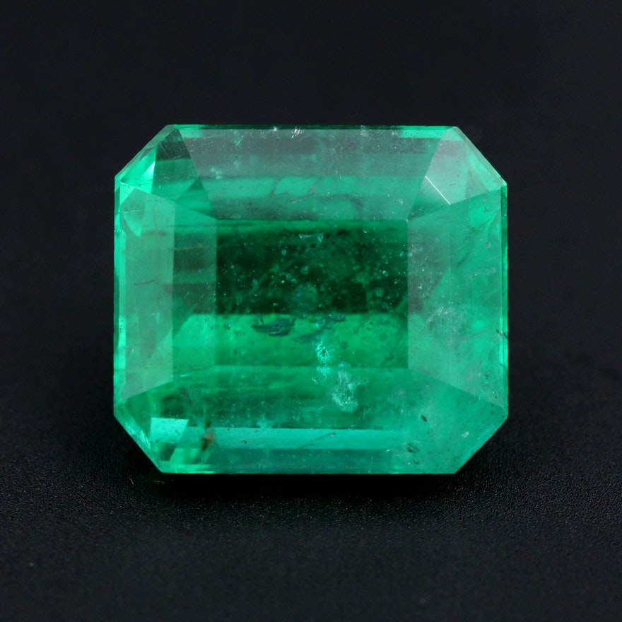 Loose 7.43 CT Emerald Gemstone with GIA Report