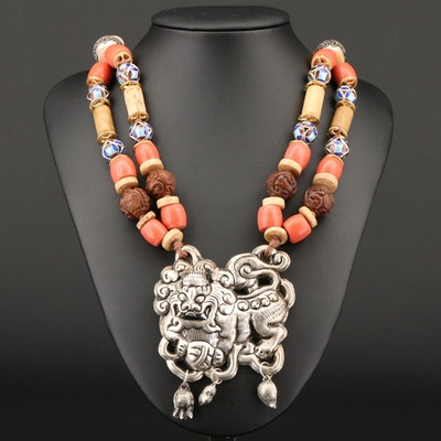 Asian Style Necklace Featuring Chased and Repousse'd Dragon Pendant