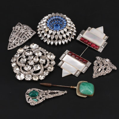 Vintage Pins, Brooches and Dress Clips With Foilback, Glass and Mother of Pearl