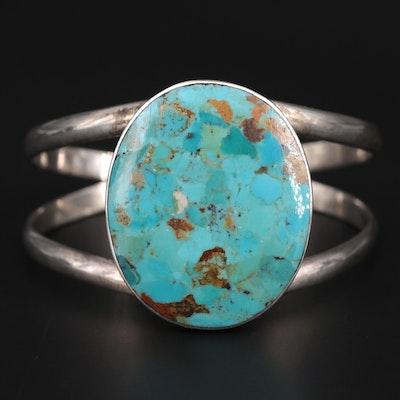 Sterling Silver Turquoise Split Wire Cuff Bracelet