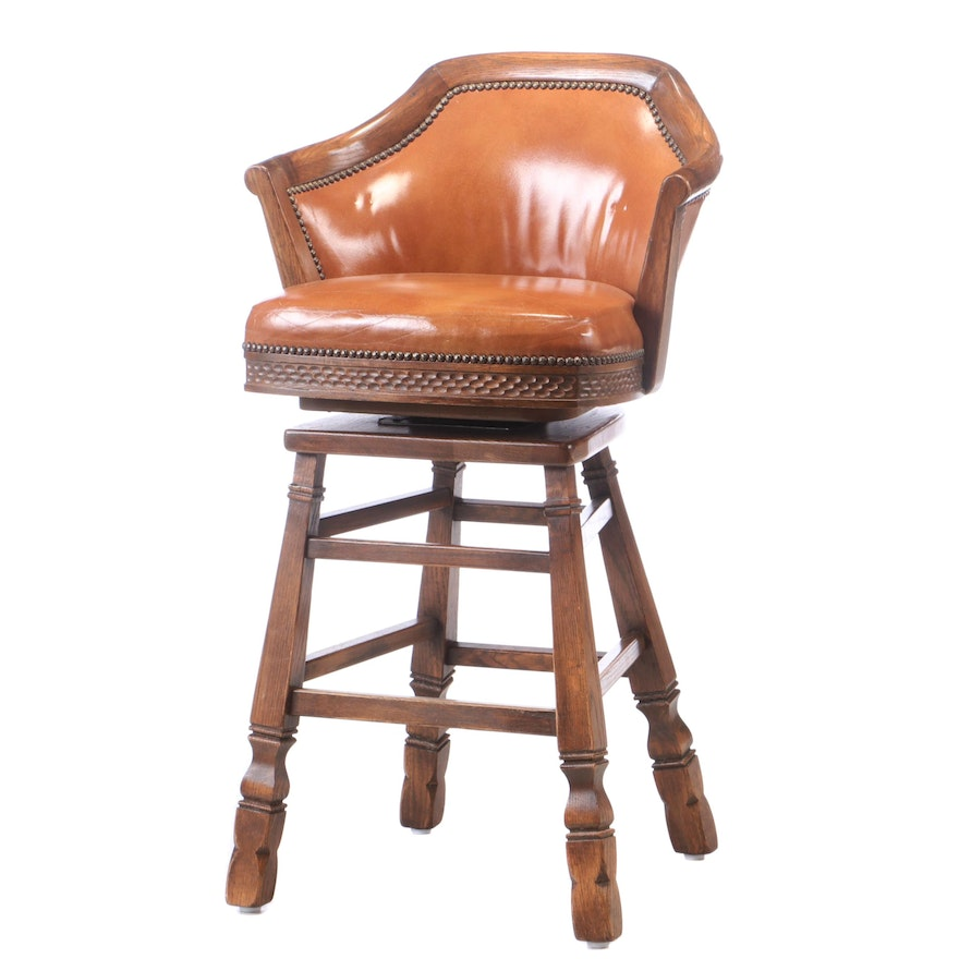 "Romweber ""Viking Oak"" Swivel Counter Height Arm Chair, Late 20th Century"
