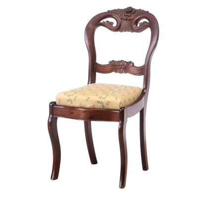 Victorian Grained Walnut Upholstered Side Chair, 19th Century
