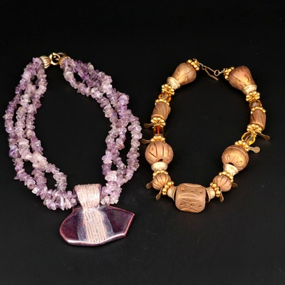 Beaded Amethyst and Ceramic Necklaces