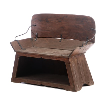 Vintage Poplar Buggie Seat, Early 20th Century