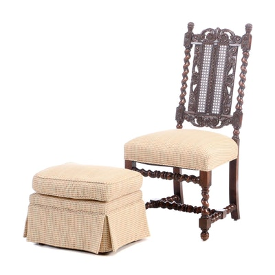 Barley Twist Oak Upholstered Side Chair with Ottoman, Early to Mid-19th Century