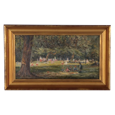"Charlotte Frimodt Oil Painting ""Orphan Children Playing in the Park"", 1921"