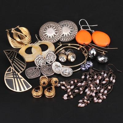 Sterling Silver Drop and Stud Earrings Featuring Swarvoski