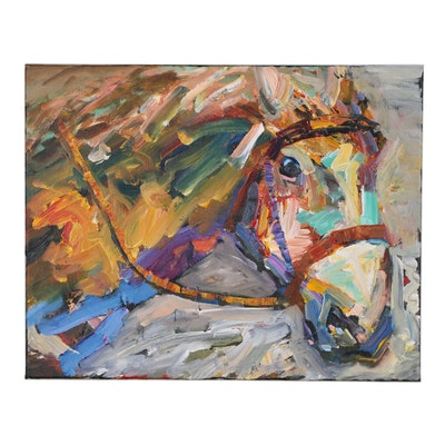Elle Raines Acrylic Painting of Horse