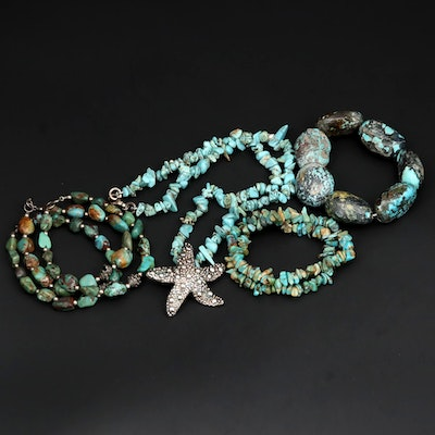 Sterling Silver Turquoise Beaded Necklace and Bracelets