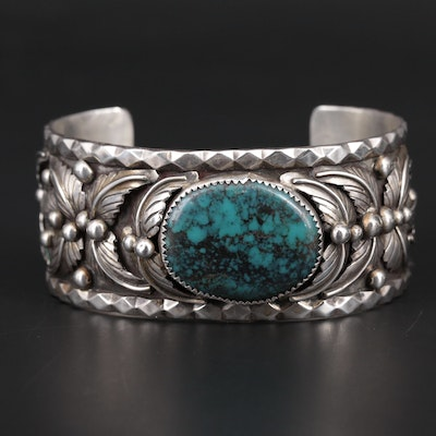 Southwestern Style Sterling Silver Chrysocolla Cuff Bracelet with Applique Work