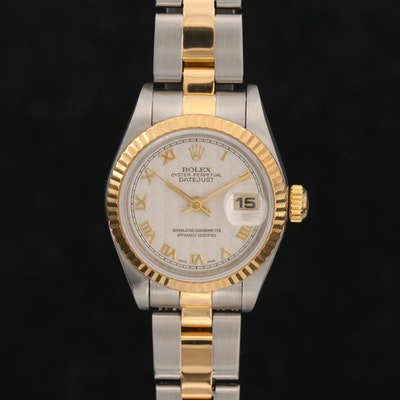 1997 Rolex Datejust Wristwatch with Ivory Pyramide Roman Dial