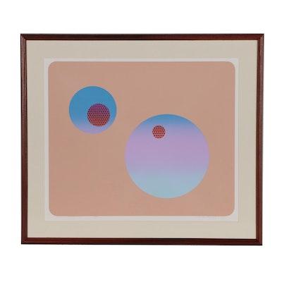 """Rudy Ayoroa Abstract Serigraph """"Space No 1"""", 1981"""