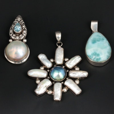 Sterling Silver Larimar, Blue Topaz and Cultured Pearl Pendants