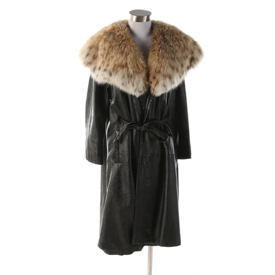 Black Leather Wrap Coat with Canadian Lynx Fur Shawl Collar, Vintage