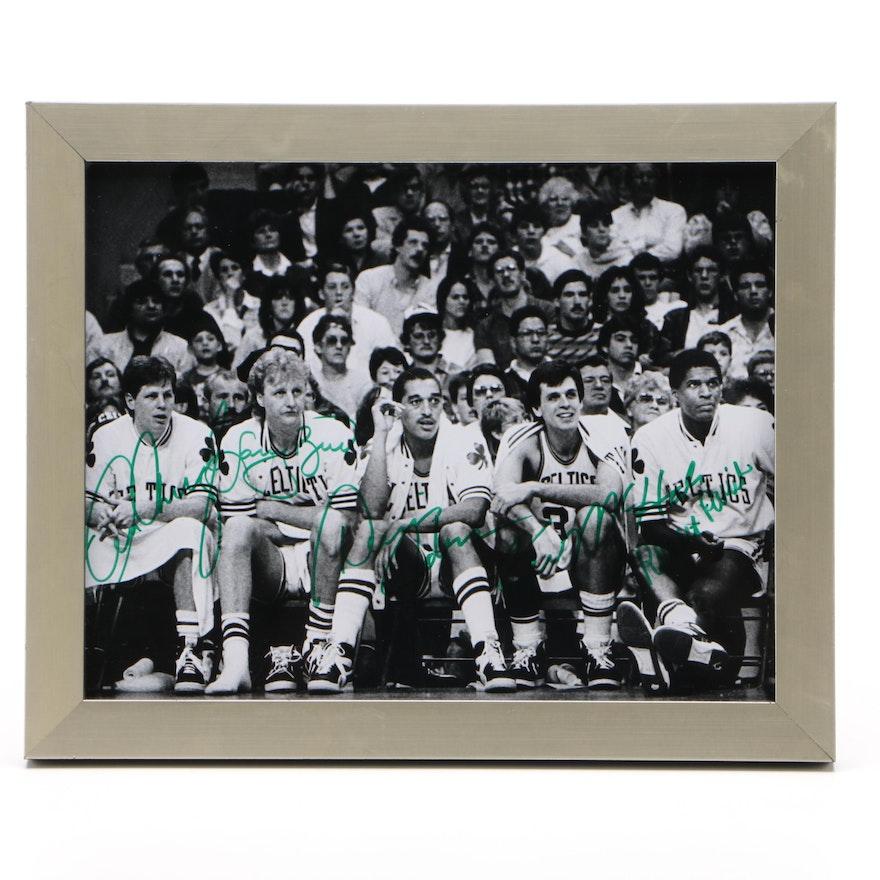 Bird, Parrish, McHale, Johnson, and Ainge Signed Boston Celtics Photo Print