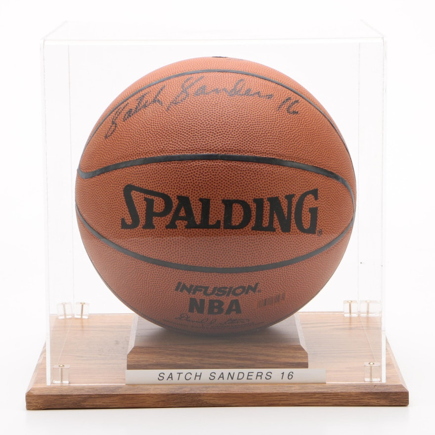 Satch Sanders Boston Celtics Signed Spalding NBA Basketball in Display Case