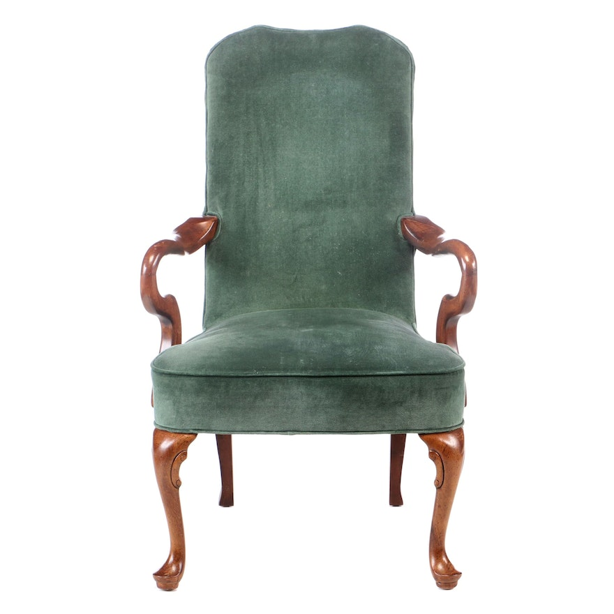 Queen Anne Style Cherry-Stained Open Armchair, Mid to Late 20th Century