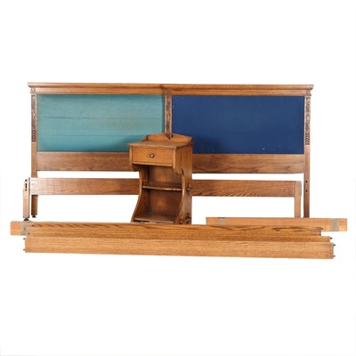 """Romweber """"Viking Oak"""" Twin Bed Frames and Nightstand, Mid-20th Century"""