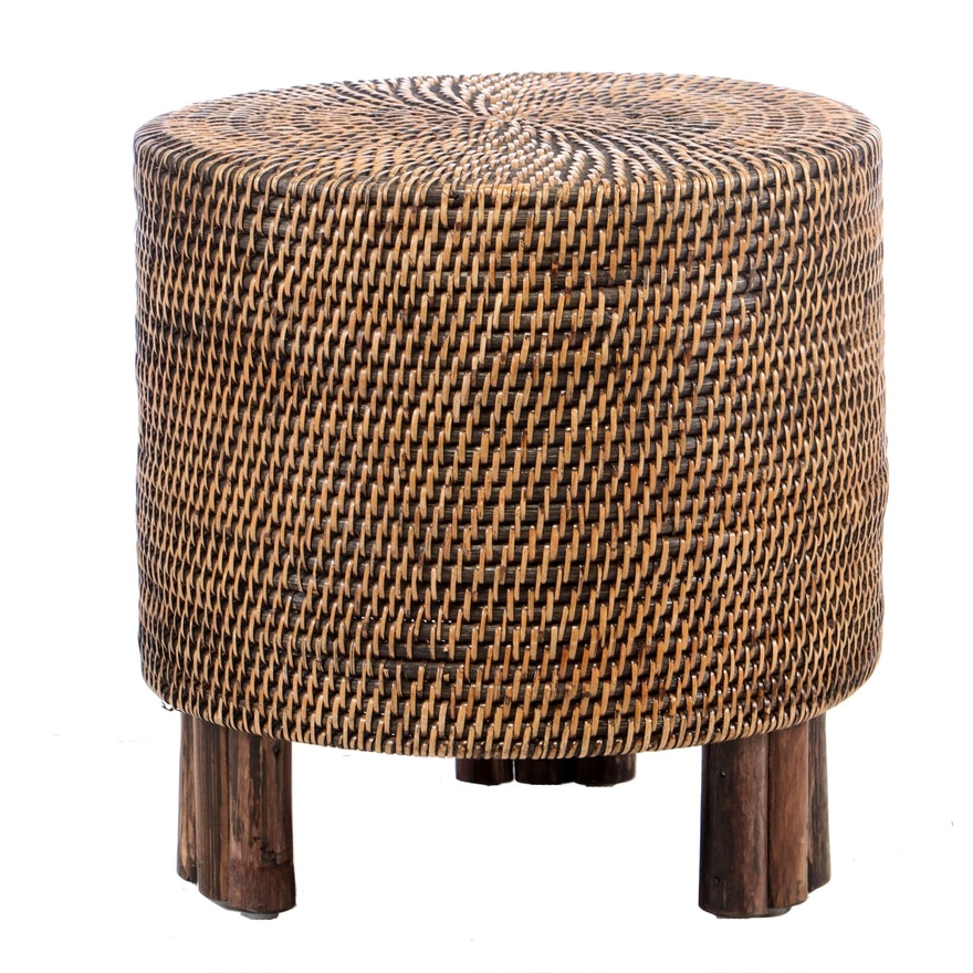 Contemporary Wicker-over-Wood Cylindrical Stool