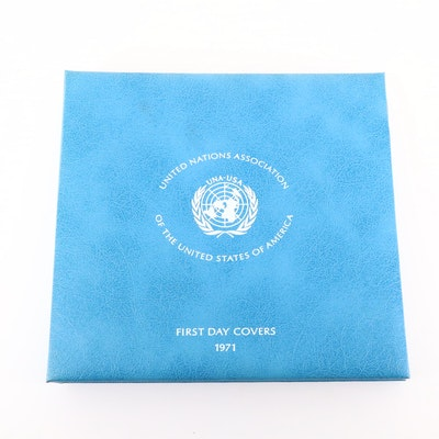 1971 United Nations First Day Covers with Sterling Silver Medals Set