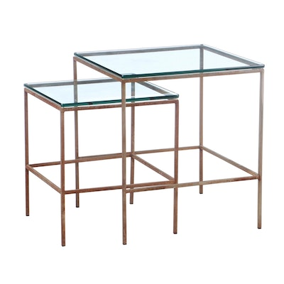 Two Modernist Metal and Glass Top Graduated Side Tables, 2nd Half 20th Century