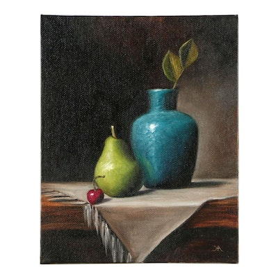 "Houra Alghizzi Oil Painting ""Still Life with Bartlett Pear"""