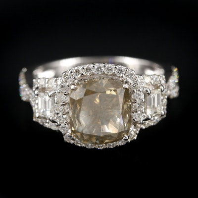 18K White Gold 4.89 CTW Diamond Ring with GIA Report