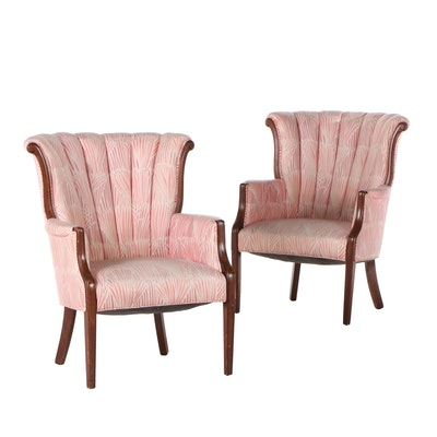Pair of Cherry-Stained Channel-Back Armchairs, Mid-20th Century