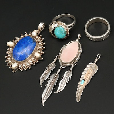 Southwestern Style Sterling Silver Rings and Pendants Including Turquoise