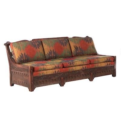 "Romweber ""Grapevine"" Viking Oak Sofa, Mid-20th Century"