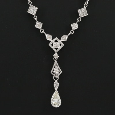 14K White Gold 1.32 CTW Diamond Necklace