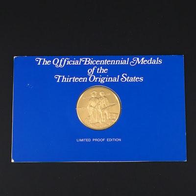 Franklin Mint Massachusetts American Revolution Commemorative 24K Gold Medal