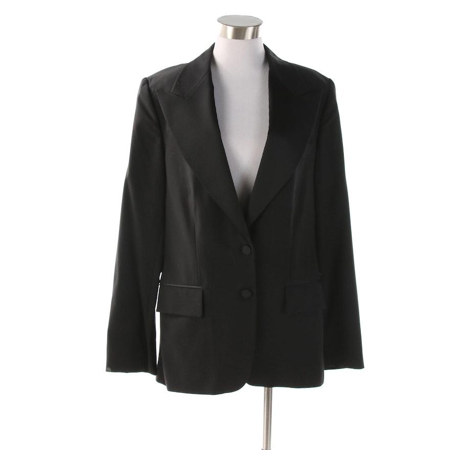 Women's Gucci Tuxedo Style Black Wool Jacket with Silk Lining