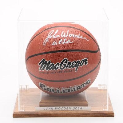 John Wooden UCLA Signed MacGregor Collegiate Basketball in Case