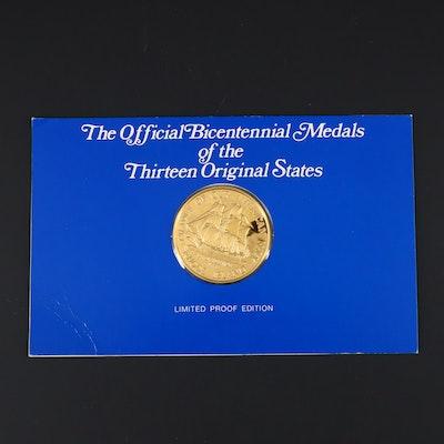 Franklin Mint Rhode Island American Revolution Commemorative 24K Gold Medal