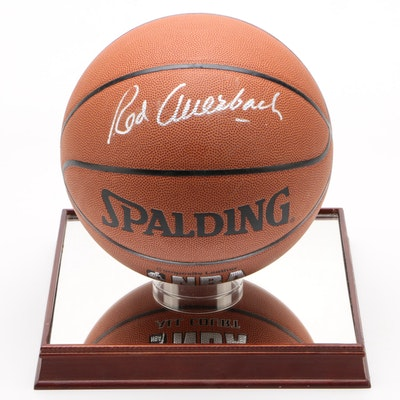 Red Auerbach Signed Spalding NBA Basketball on Mirror Platform, 1990s, COA
