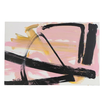 "Robbie Kemper Abstract Acrylic Painting ""Marks on Peach"""