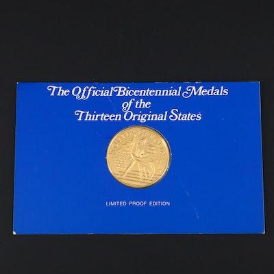 Franklin Mint South Carolina American Revolution Commemorative 24K Gold Medal