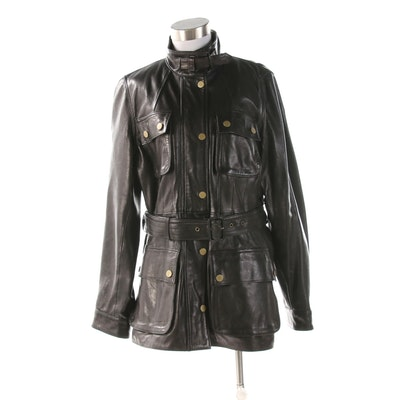 Women's Banana Republic Leather Fitted Jacket with Belt