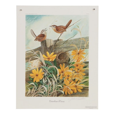 "John Ruthven Offset Lithograph ""Carolina Wrens"""