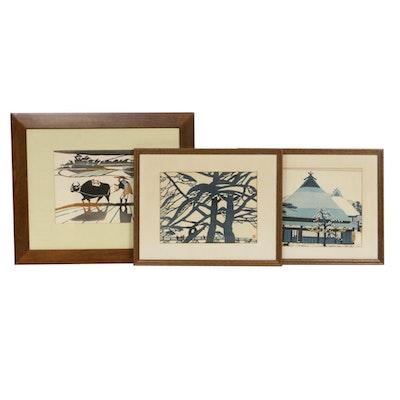 Toshijiro Inagaki Woodblocks, Mid-20th Century