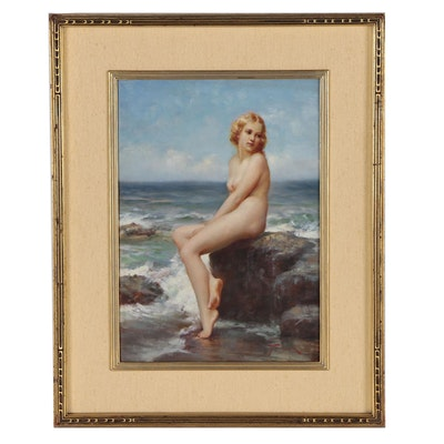 Joseph Tomanek Oil Painting of Seated Female Nude at Rocky Shore
