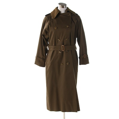 Women's 'Burberrys' Olive Green Gabardine Trench Coat with Wool Liner