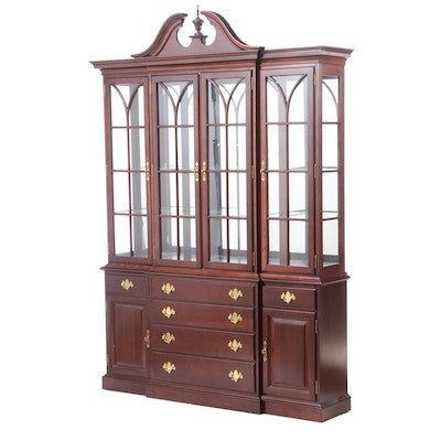 "Tell City Chair Co., Federal Style ""Tidewater Cherry"" Breakfront China Cabinet"